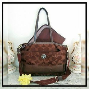 Coach F18033 Brown Signature Diaper Bag